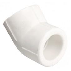 Фитинг полипропиленовый – угольник на 45°, 20 мм - двухсторонний угловой полипропиленовый фитинг (отвод), позволяющий изменить направление полипропиленового трубопровода на 45°. Монтаж осуществляется методом раструбной сварки.